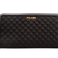 PRADA SAFFIANO Leather Zip-Around Black Wallet