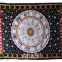 Small/Twin Cotton Rashi Tapestry Wall Hanging Indian Astrology Bedspread Hippie Bohemian Throw Ethnic Home Decorative Art
