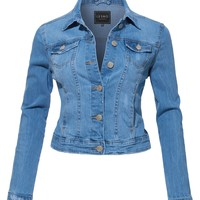 LE3NO Womens Vintage Fitted Long Sleeve Distressed Denim Jacket (CLEARANCE)