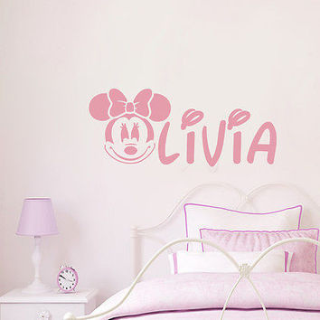 Personalized Mickey Mouse Decals Girl Name Wall Decal Nursery Room Decor DS406