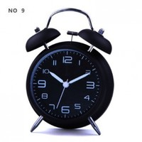 "HITO™ 4"" Silent Quartz Analog Twin Bell Alarm Clock with Nightlight and Loud Alarm (NO9)"
