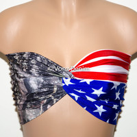 American Flag and Camo Bandeau, Beach Bra Swimsuit Top, Bikini Top Bandeau, Spandex Bandeau, Twisted Tops Bathing Suits