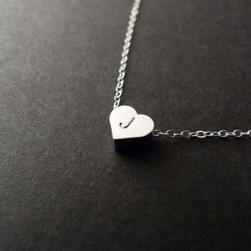Silver Heart Necklace with Initial Stamped, Sterling Silver, Little heart necklace