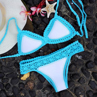 Bikini 2016 swimsuit bathing suit two pieces set sexy brazilian bikini knitting bikinis swimwear women maillot de bain femme