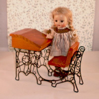 Miniature School Desk Doll Size Toy Furniture