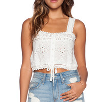 Spell & The Gypsy Collective Sahara Lace Crop Tiop in Ivory