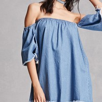 Bell-Sleeve Denim Mini Dress