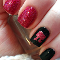 Pink Glitter Barbie Inspired Vinyl Nail Decals- Set of 50