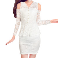 Cut-out Crochet V Neck  Long Sleeve Bodycon Lace Mini Dress