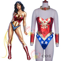 Wonder woman costume sexy Miss America jumpsuit Justice League Batman wonder Woman cosplay costume  custom made
