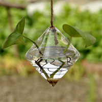 Pretty Transparent Rhombus Crystal Glass Plant Vase Terrarium Hydroponics Hanging Wedding Party Home Decor