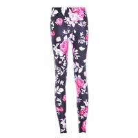 Pink Roses Printed Leggings
