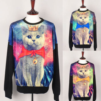 womens digital printed galaxy cat Jumper sweater top Crew Neck Sweatshirt