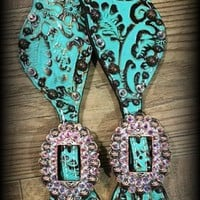 Turquoise Floral Spur Straps IN STOCK