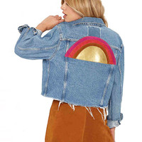 Buttoned Down Cropped Denim Blue Jacket with Front Pockets and Back Prints