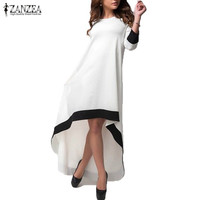 Elegant White Maxi Irregular Hem 3/4 Sleeve Maternity Dress
