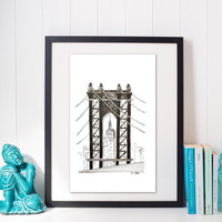 New York Skyline Print of Original Drawing, Architecture Drawing, , Pen and ink, New York City Bridge and skyline Print, modern sketch