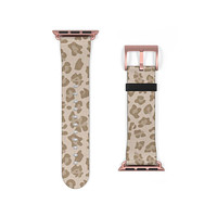 Light Leopard Animal Print Faux Leather Apple Watch Band