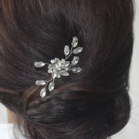 Rhinestone Hair Pin, Bridal Hair Pin, Crystal Hair Pin, Crystal Hair Piece, Wedding headpiece, Silver hairpin, rhinestone hairpiece, hairpin