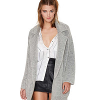 Gray Open Front Knit Coat in Cocoon Fit