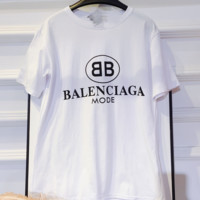 Balenciaga summer new temperament double black and white short-sleeved t shirt short top cotton bottom clothing