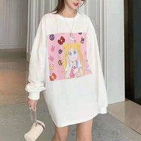 Women Casual Cartoon Character Sailor Moon Girl All-match Fashion Letter Logo Long Sleeve Sweater Tops
