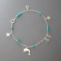 Silver Anklet - Initials Jewelry - Turquoise Bracelet - Personalized Jewelry - Letters - Dolphin - Starfish - Heart - Charm Ankle Bracelet
