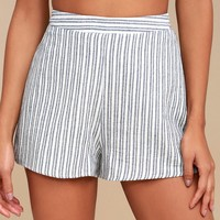 Hamptons Hideaway Blue Striped Shorts