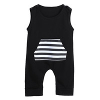 Baby Rompers Infant Patchwork Clothing Kids Striped Pocket Sleeveless Jumpsuit Boys Girls Romper