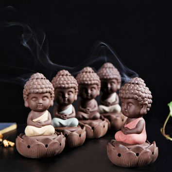 Backflow Incense Buddha Statue Burner Incensory Cones Ceramic Stove Disc Sandalwood Coil Ornaments Monk Figurine Yoga Home Decor Decorative