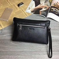 PRADA MEN'S LEATHER ZIPPER HAND BAG