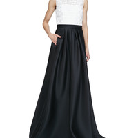 Carmen Marc Valvo Sleeveless Combo Ball Gown, Ivory Black