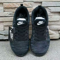"""Nike"" Fashion Breathable Sneakers Sport Shoes Black white hook"