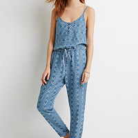 Life In Progress Pixelated Print Chambray Jumpsuit