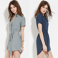 Pointed Collar Single Breasted Bow Waist Mini Dress