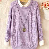 Fashion Purple Weave Long-sleeved Sweater&Cardigan