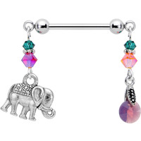 Handcrafted Elephant Nipple Ring Created with Swarovski Crystals | Body Candy Body Jewelry