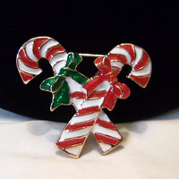Vintage Candy Cane & Bows Enamel Christmas Gold Plate Brooch Pin
