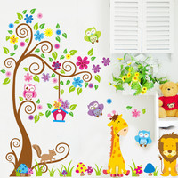 Cartoon Animal Tree wallpaper for rooms