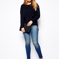 ASOS CURVE Ridley Skinny In Mid Wash With Ripped Knee