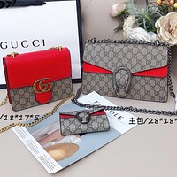 Gucci Dionysus Fashion Women Men Three piece Big Medium Small Bag Suit Red
