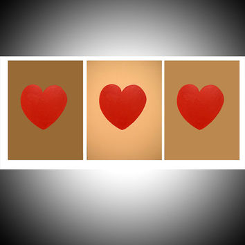 """large wall affordable art hanging acrylic painting triptych original large abstract canvas 3 panel decor home hanging hearts 27 x 12 """""""