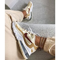 Nike beige Air Max 270 React sneakers fashion stitching couple air cushion casual sneakers