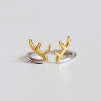 Ring--Sterling silver antler ring,silver adjustable ring, nice gift