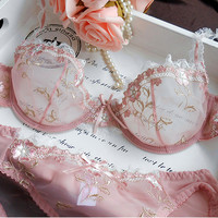 2016 Hot Fashion Womens Sexy Lingerie Underwire Bra Sets Transparent Ultra-thin Lace Brassiere Panties Set Full of Temptation