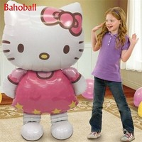 116*68cm Large Size Hello Kitty Helium Foil Balloon Cartoon Balloon Stand Wedding Birthday Party Decor Inflatable Air Balloons