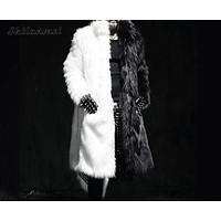 Men Long Faux Fur Coat Thick Faux Fur Jacket Black/White Outerwear Casual Parka Coat