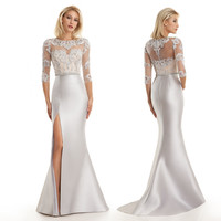 Elegant Long Mermaid Evening Gown Sexy Beaded Slit Silver Mother of The Bride Dresses Plus Size Custom Made Vestidos Sociais