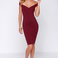 LULUS Exclusive X Marks the Spot Burgundy Midi Dress