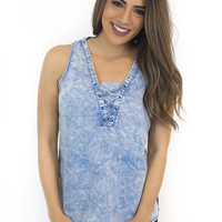 Denim Wash Lace Up Tank